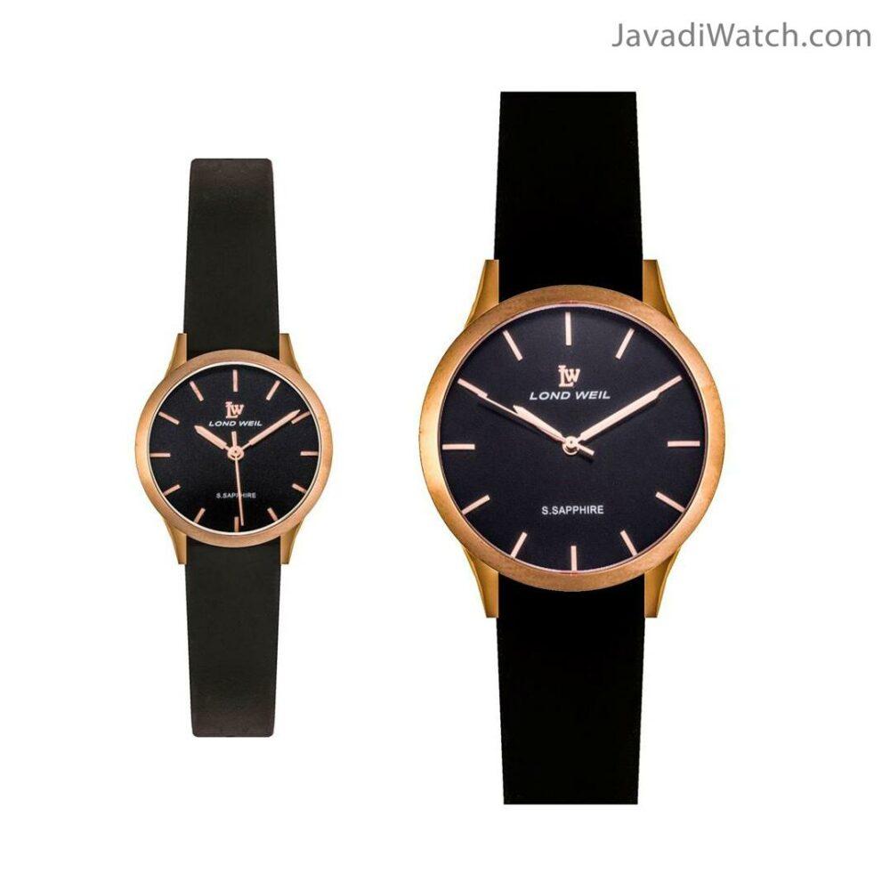 ساعت لوندویل ست بند چرمی رزگلد مشکی مدل 630007