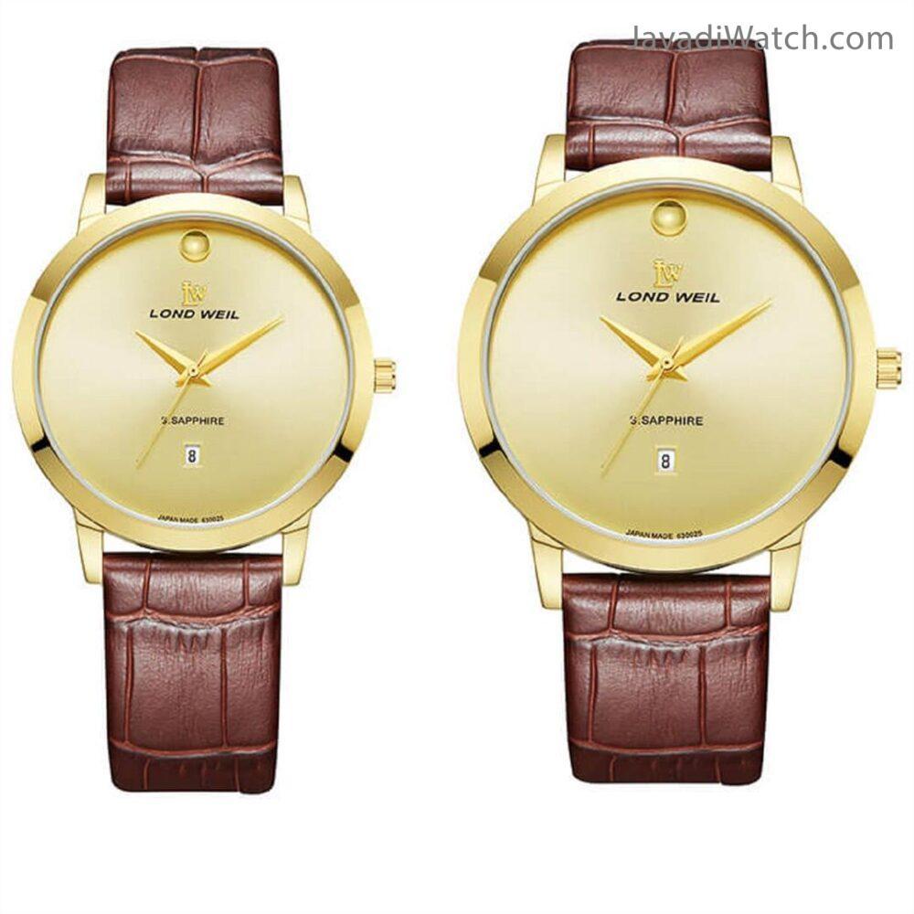 ساعت لوندویل ست بند چرمی گلد قهوهای مدل 630026