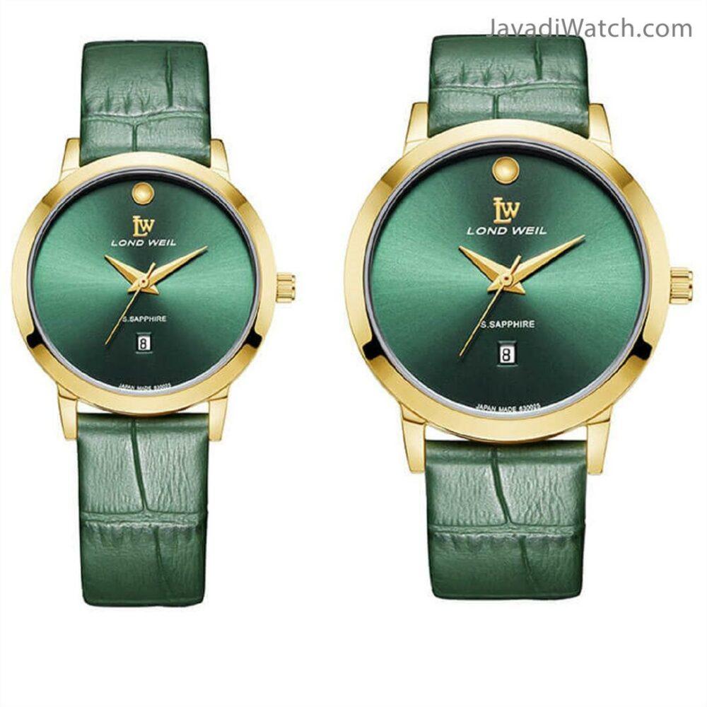 ساعت لوندویل ست بند چرمی گلد گرین مدل 630026